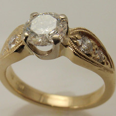 14k yellow gold millgrained ring