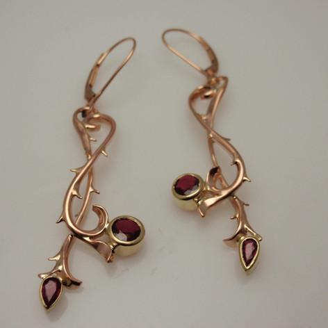 hand fabricated garnet earrings