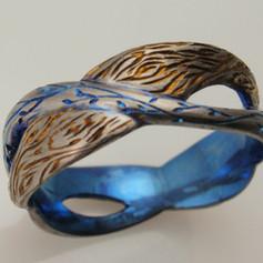 leaf and bark titanium ring