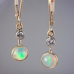 Ethiopian and diamond earrings