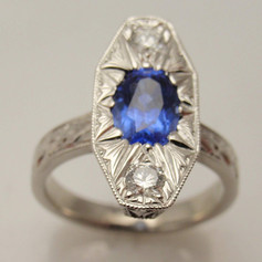 engraved platinum and sapphire ring