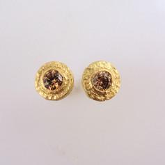 textured bezel earring studs