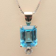 blue topaz and diamond drop pendant