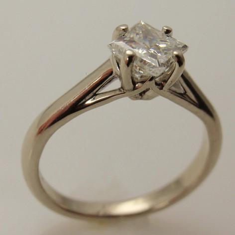 cathedral diamond ring w/ princess cut center
