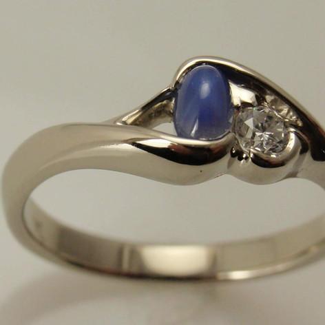 star sapphire twist wrap w/ diamond accent
