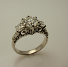 diamond vintage inspired 3 stone ring