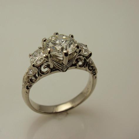 diamond vintage inspired 3 stone ring