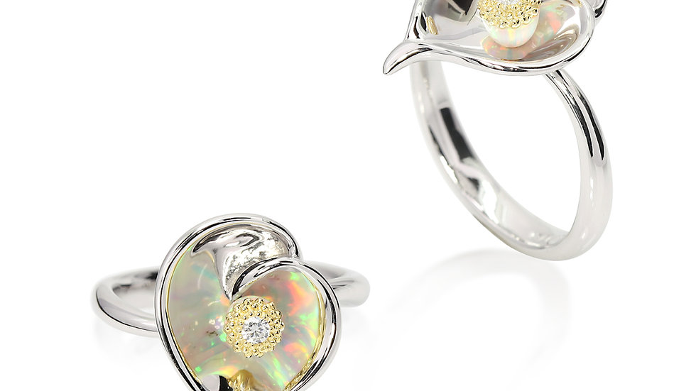 Gloria Calla Lilly sterling silver w/ gold accent ring size 6.5