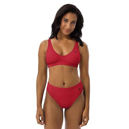 Recycled high-waisted bikini - Red
