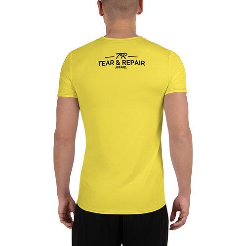 Yellow Men's Athletic T-shirt