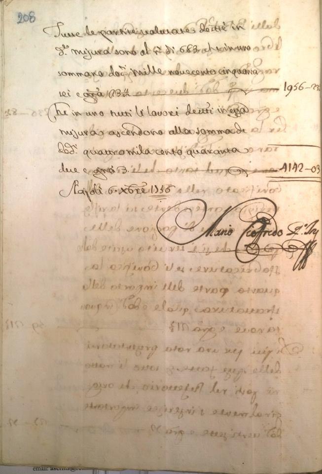 Autografo dell'Arch. Mario Gioffredo