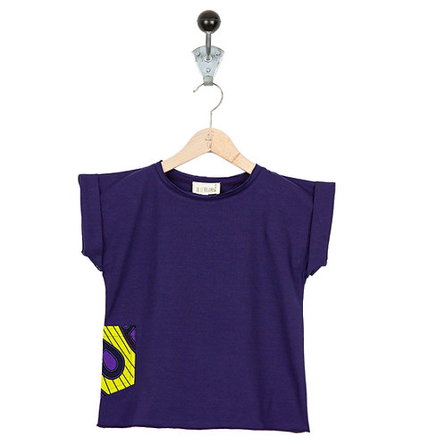 Tee Shirt Leon Col Violet Wax Jaune