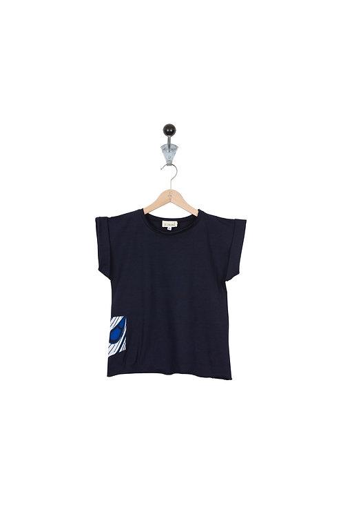 Tee Shirt Leon Col Bleu Marine Wax