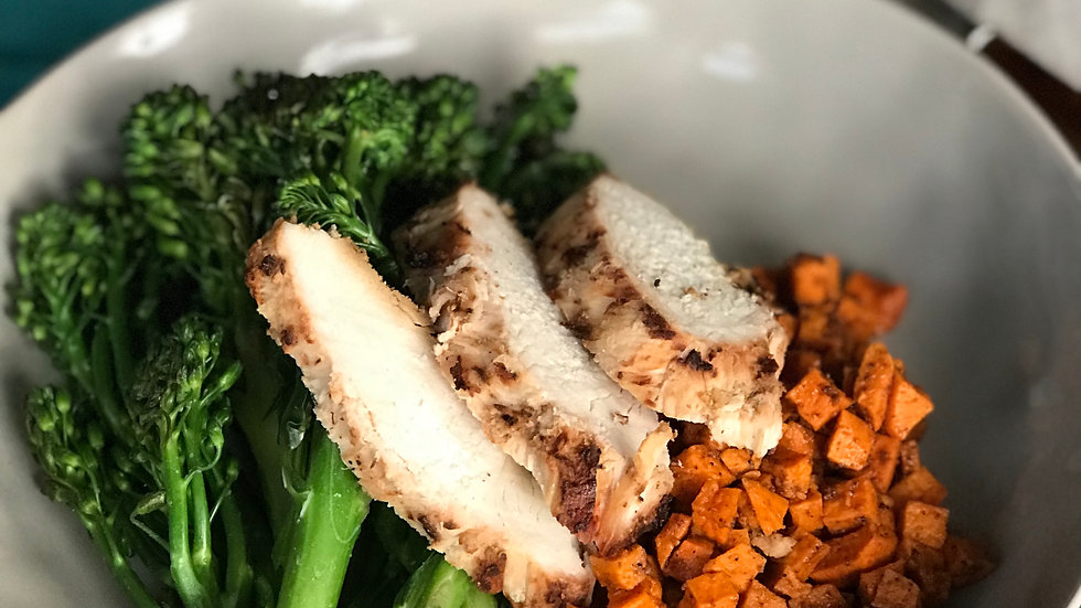 Grilled Chicken with Broccolini & Cajun Sweet Potatoes