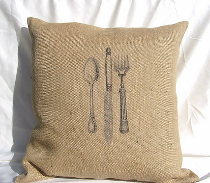 Burlap Pillows- Let's Eat