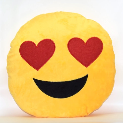 Lovey Dovey Heart Eyes Emoticon Pillow