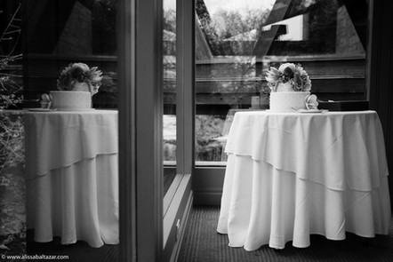 Black and white wedding photography, wedding decor at Ancaster Mill, Hamilton wedding photographer.