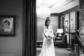 Ancaster Mill wedding, beautiful bride, Hamilton fashion photographer, black and white, wedding venue