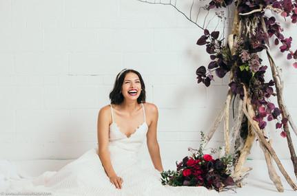 Bride portrait, Hamilton wedding photographer, boho bride, wedding decor, bouquet, flowers.