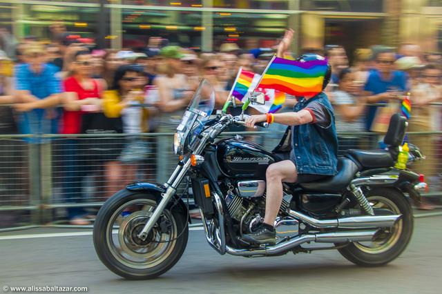 Gay pride Toronto. Motion, motocycle.  Hamilton event photographer.