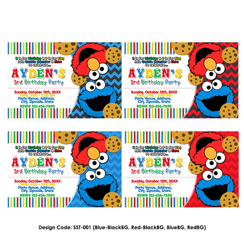 Elmo Sesame Street Birthday Invitation SST 001