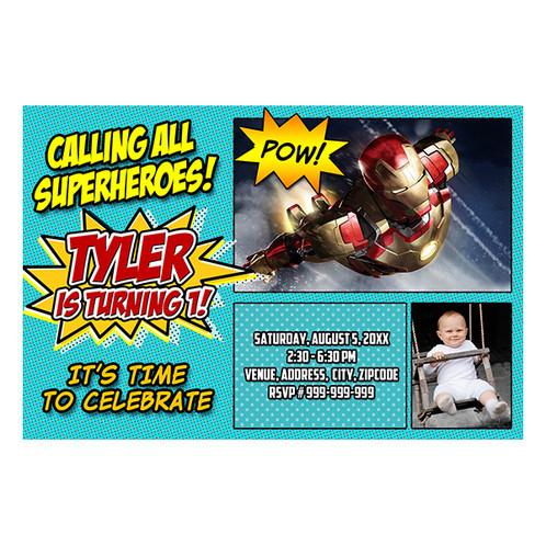 Avengers iron man birthday invitation irm 002wphoto filmwisefo