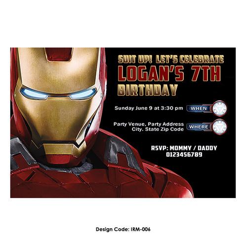 Iron man birthday invitation irm 006 filmwisefo