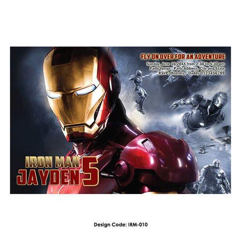 Avengers iron man birthday invitation irm 010 filmwisefo