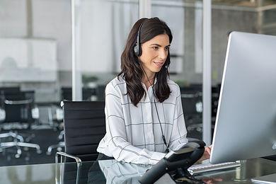Mature secretary working in call center
