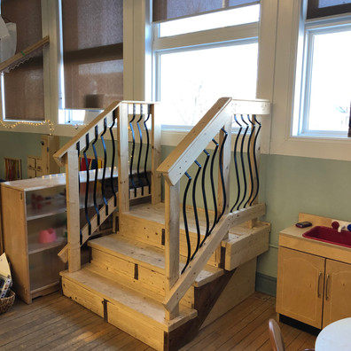 Helen Tufts Nursery School Children Stairs to Window