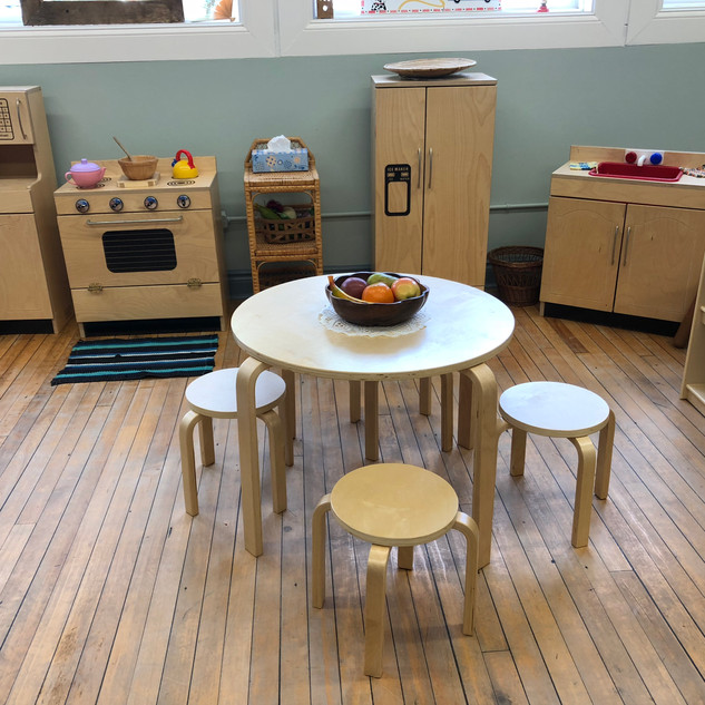 Helen Tufts Nursery School Wooden Kitchen in Dramatic Play Area