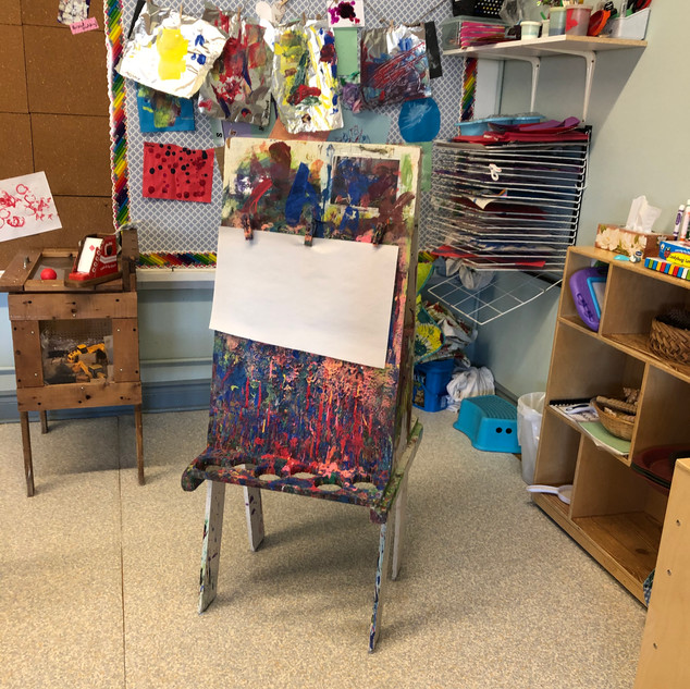 Helen Tufts Nursery School Art Area with Easel
