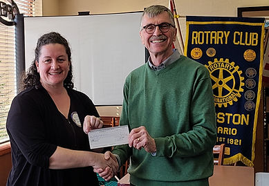 Helen Tufts Nursery School director accepting grant from Rotary Club of Kingston