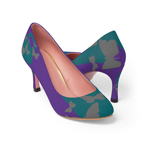 Kettlebell aquamarine butterfly Women's High Heels - purple