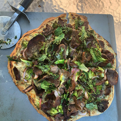 Bison Flat Bread Pizza with White Sauce