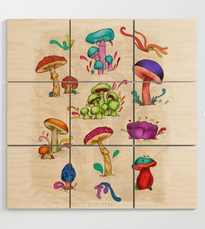 "Impresión en madera ""Hongos"" / Mushrooms Wood Wall Art"
