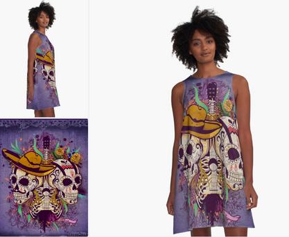 """Vestido """"Día de Muertos"""" / Day of the dead A-Line Dress"""
