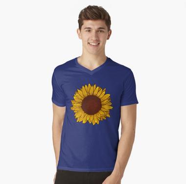 Playera cuello v de girasol / Sunflower V-Neck T-Shirt