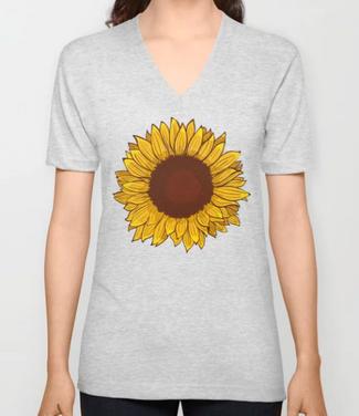 Playera unisex cuello en V de girasol / Sunflower Unisex V-Neck