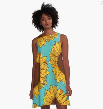 Vestido acampanado de Girasol / Sunflower A-Line Dress