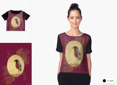 """Blusa de Chiffon """"Ave 1"""" / Bird 1 Women's Chiffon Top"""