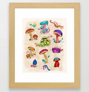 """Arte enmarcado """"Hongos"""" / Mushrooms Framed Art Print"""
