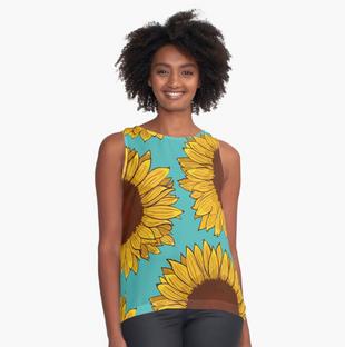 Top sin mangas de girasol / Sunflower Sleeveless Top