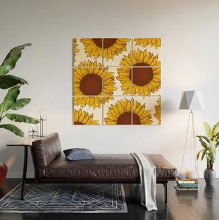 Arte de madera de girasol /Sunflower Wood Wall Art
