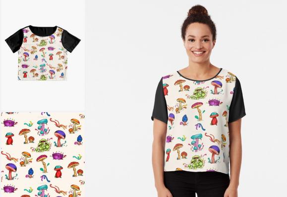 """Blusa de Chiffon """"Hongos"""" / Mushrooms Women's Chiffon Top"""