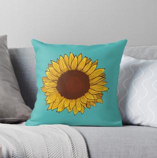 """Cojín """"Girasol"""" / Sunflower Throw Pillow"""