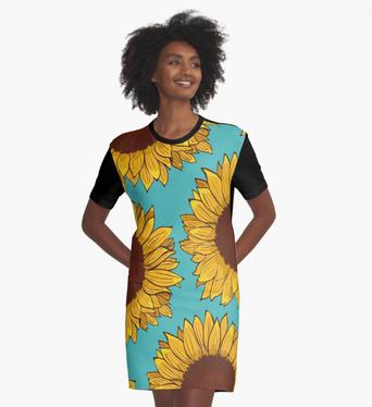 Vestido camiseta de girasol / Sunflower T-Shirt Dress