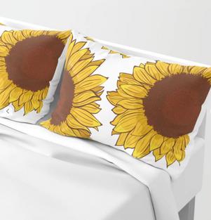 Funda para almohada de Girasol / Sunflower pillow shams