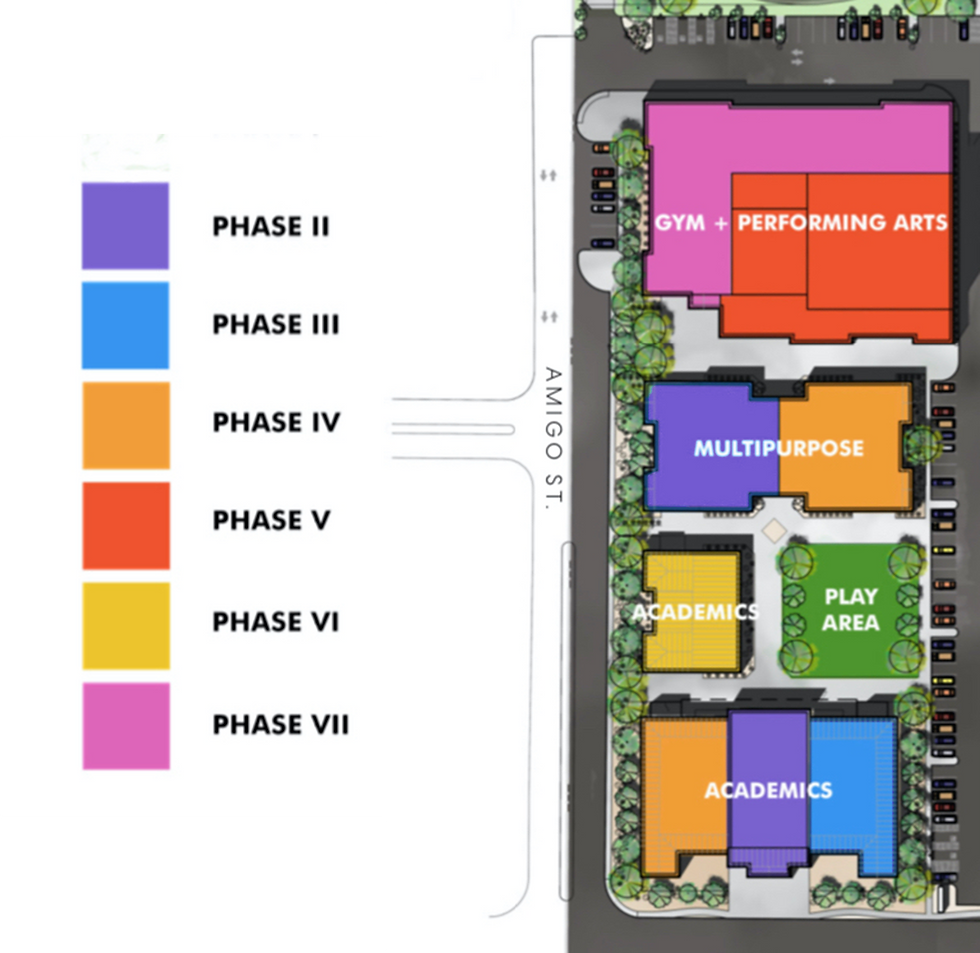 Schematic of campus of Christian academy showing phases of buildout of private school in Las Vegas NV
