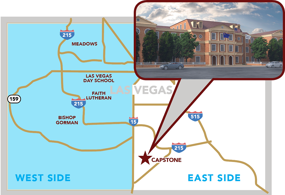Exterior view of Capstone Christian Academy, a Christian school in Las Vegas, NV with map denoting location